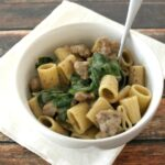 Sausage Rigatoni with Spinach
