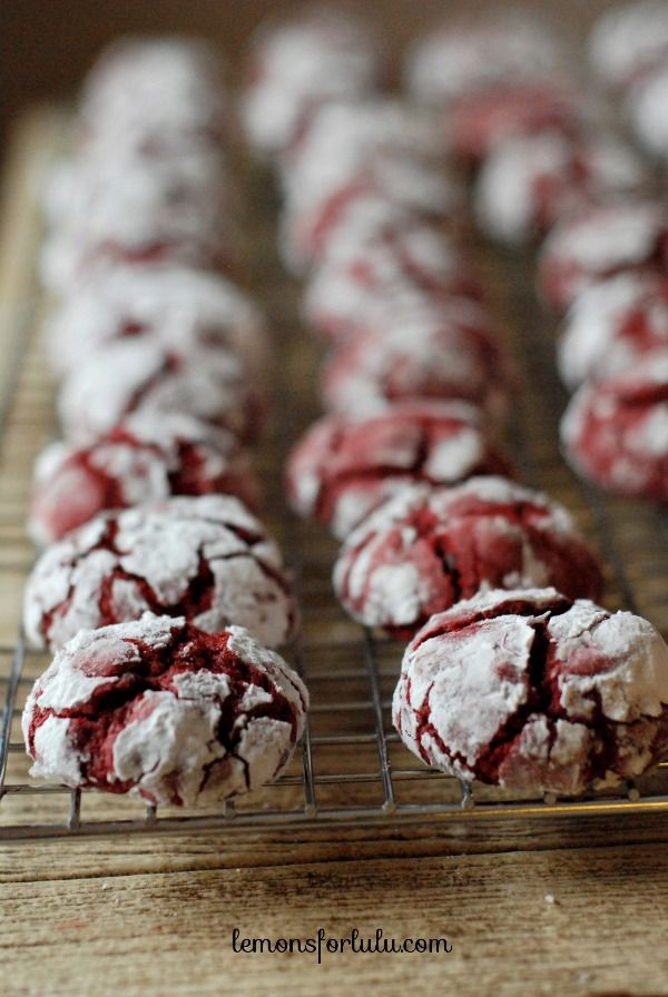 Chocolate Chip Red Velvet Crinkle Cookies