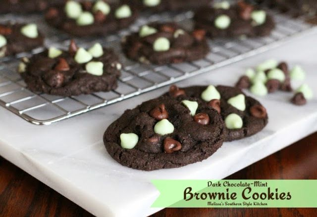 Dark Chocolate-Mint Brownie Cookies