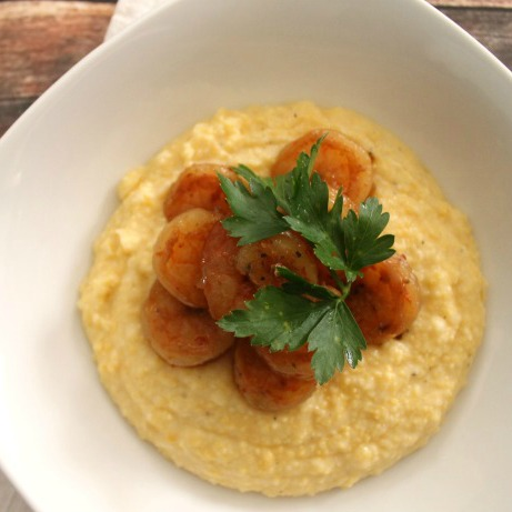 Honey Chipotle Shrimp with Cheesy Polenta