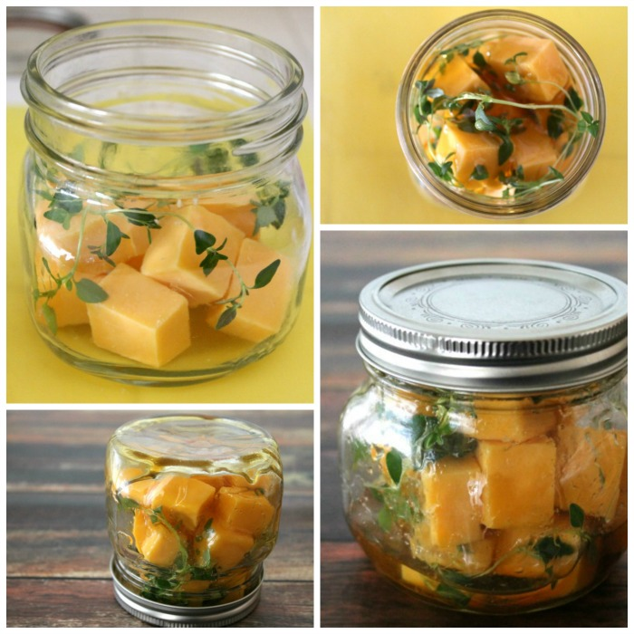 Honey-Thyme Marinated Cheddar is a sweet and savory appetizer you can make ahead of time and have on hand for surprise visitors. It also makes a wonderful gift for the foodie in your life!