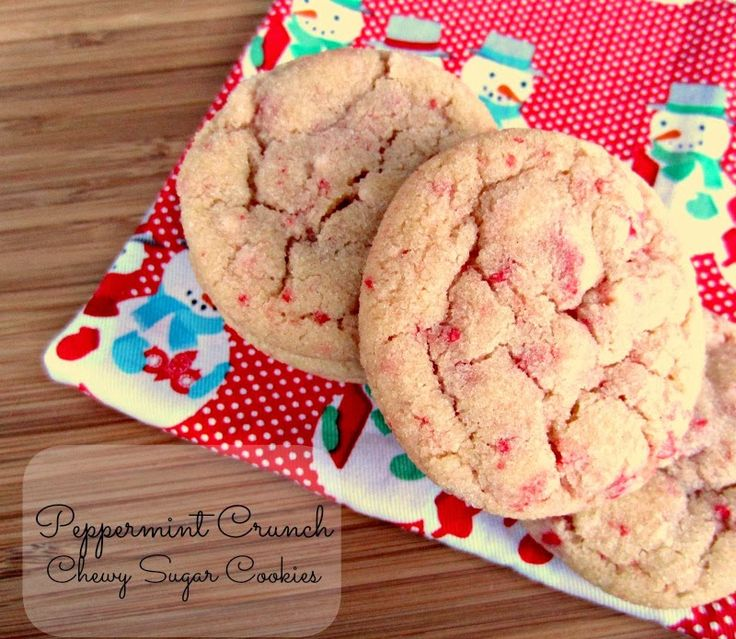 Peppermint Crunch Chewy Sugar Cookies