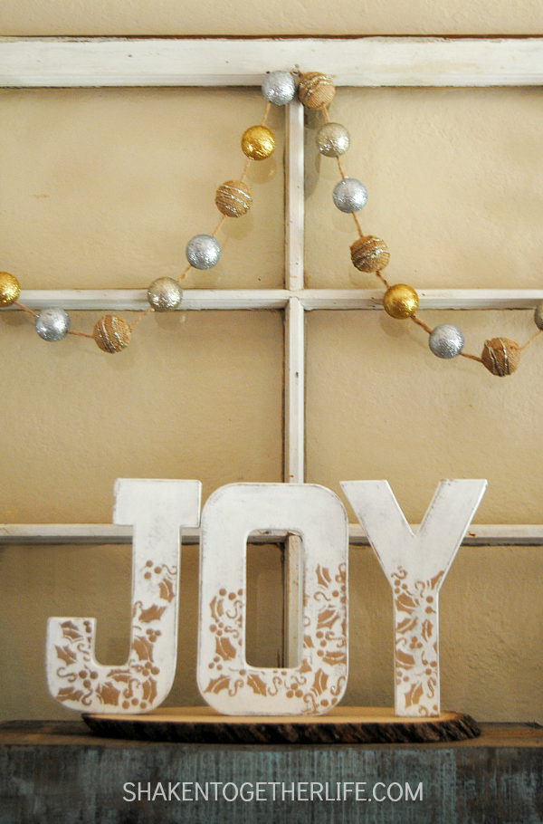 White and Gold Faux Wood JOY Letters