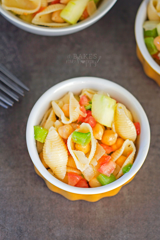 Chickpea Pasta Salad | It Bakes Me Happy for White Lights on Wednesnday