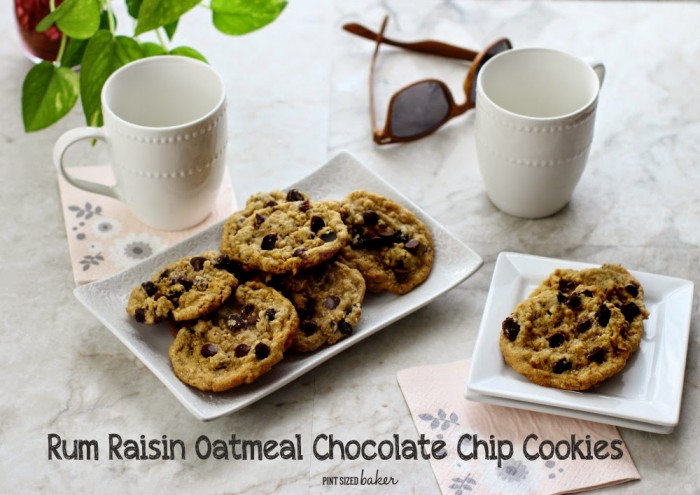 Rum Raisin Oatmeal Chocolate Chip Cookies | PInt Sized Baker for White Lights on Wednesday