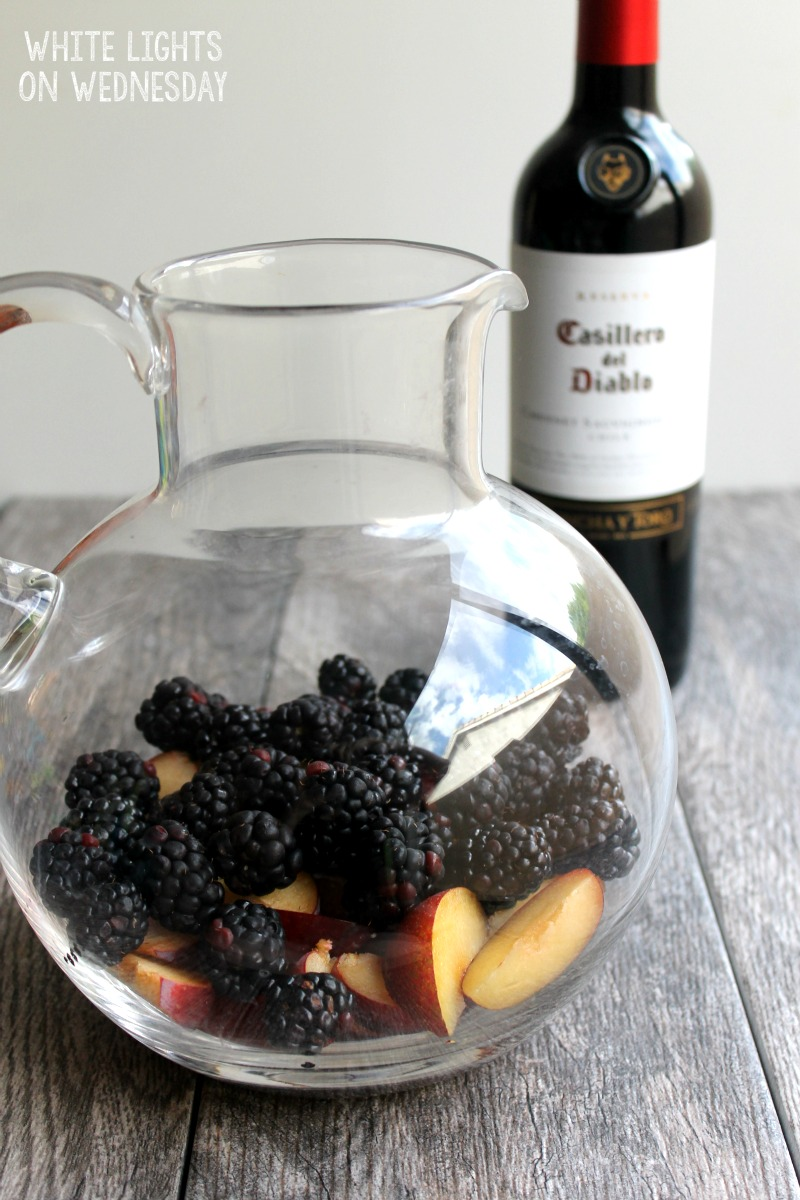 Blackberry Plum Sangria has a gorgeous red color and deep fruit flavors. This cocktail for a crowd is perfect for parties and nights in alike! #DiabloHalloween #contest #ad