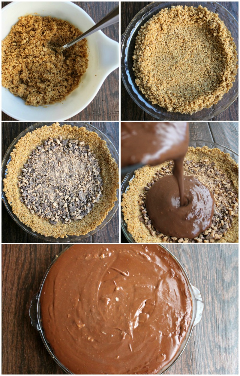 Caramel Toffee Crunch Chocolate Pie is a decedent pie perfect for the holidays! #ad