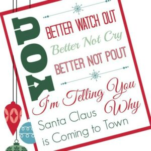Santa Clause is Coming to Town Free Printable | White Lights on Wednesday