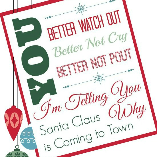 Free Santa Claus is Coming to Town Printable