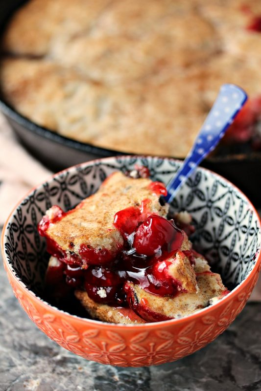4 Ingredient Cherry Cobbler with Chocolate Chip Topping - Cravings of a Lunatic