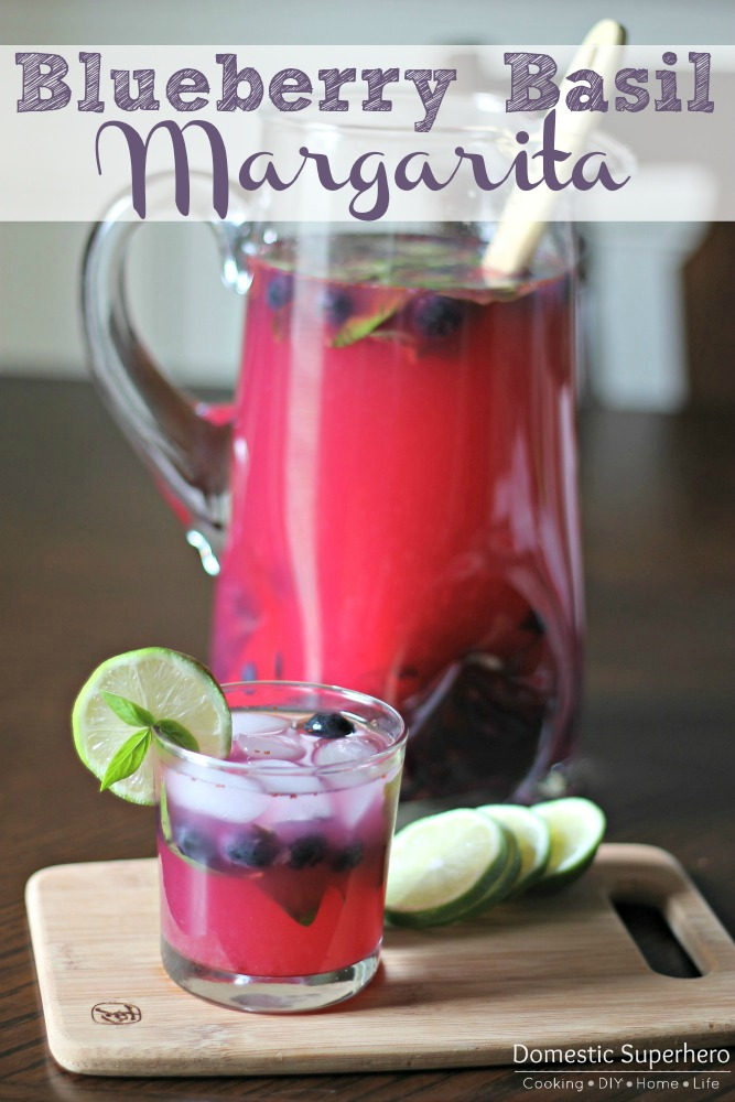 Blueberry Basil Margaritas - Domestic Superhero