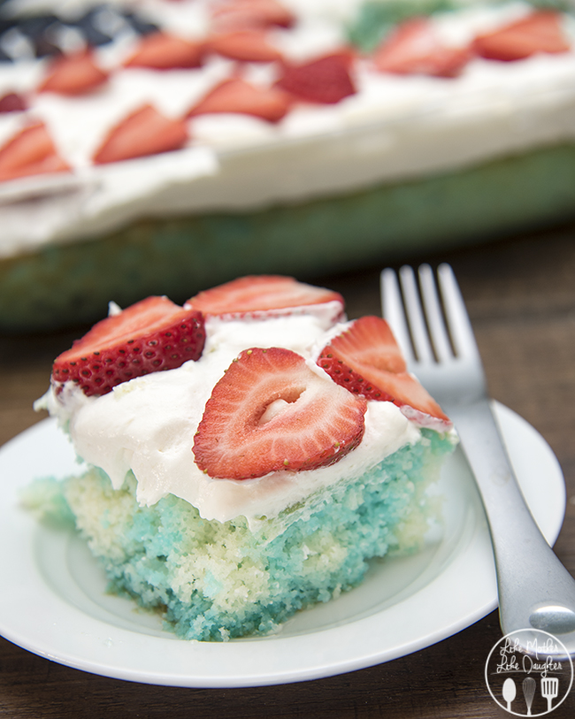 Red White and Blue Jello Poke Cake - Like Mother Like Daughter
