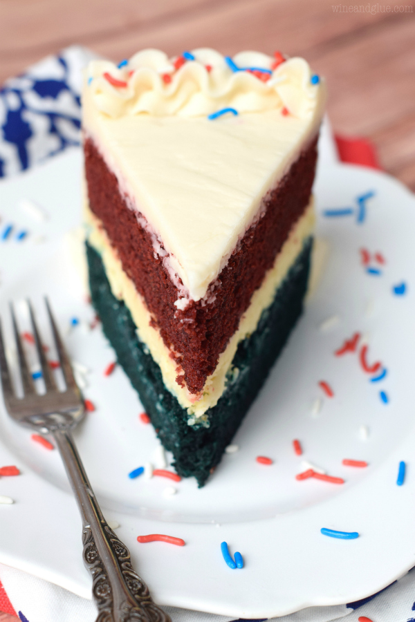 Red, White, and Blue Velvet Cheesecake Cake - Wine & Glue