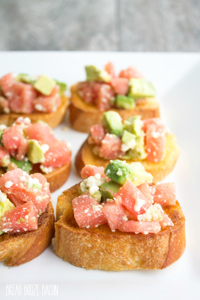 Watermelon & Avocado Bruschetta - Bread Booze Bacon